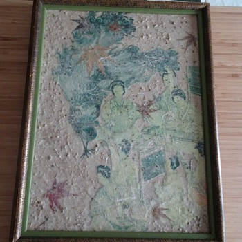 Old Oriental Chinese Art on Masonite wood frame - Asian