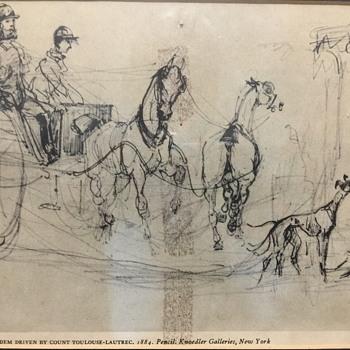 Plate 4 Tandem driven By Count Toulouse-Lautrec, 1884. Pencil
