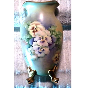 "Goodwill Points Freebie /Austrian Hand Painted 10"" Porcelain Footed Vase Signed ""Janoshek"" / Circa 19th-20th Century - Pottery"