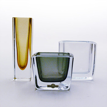 Strömbergshyttan miniature vases / cigarrete cases - Art Glass