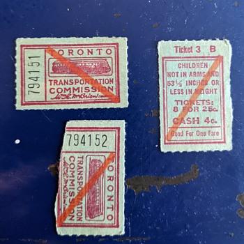 1937-1954 TTC tickets. - Advertising