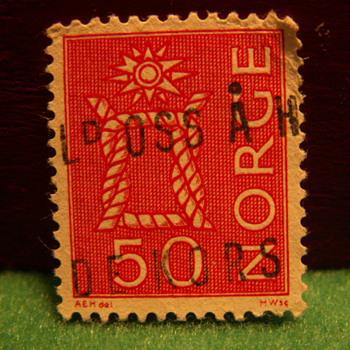 Vintage 50 Norge Stamp ~ Norway