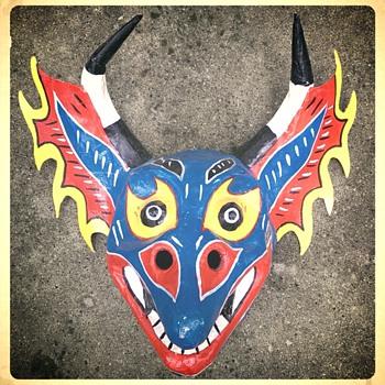 Another Hwy127 yard sale find- Manuel Sanoja Diablo Mask - Folk Art