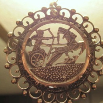 Silver Greek-Roman Brooch - Costume Jewelry
