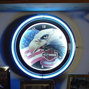 Harley-Davidson...Neon Clock...Patriotic - Clocks