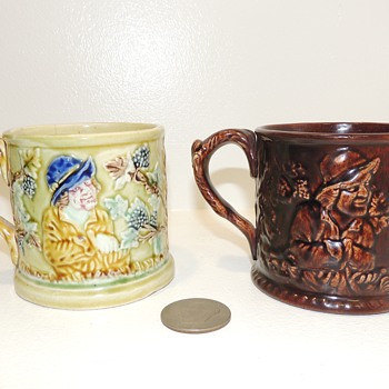 Frog Surprise Mugs - Yellowware, mid-late 19th century - Possibly Baltimore Pottery - Pottery