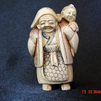Antique Chinese Netsuke Woman Carrying Baby Unknown Artist and Characters - Asian