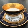 miniature gold plated, cobalt blue and white demitasse cups/saucers