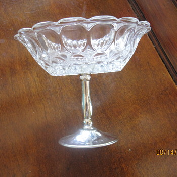 bubble like small candy dish with metal stand - Glassware