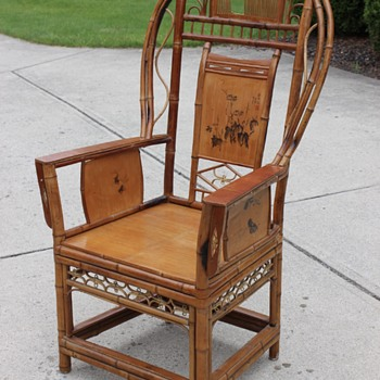 Handmade Antique Bamboo Chinese/Japanese Chair w/ Scenery & Signature - Furniture