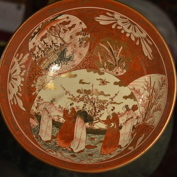 Kutani Bowl with the Five Monks - Asian