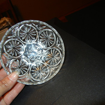 Clear small bowl probably EAPG and little Hats