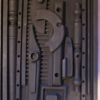 Mystery Fake Louise Nevelson Black Wood Assemblages  - Folk Art