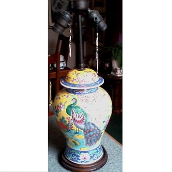 Beautiful Famille Jaune Lamp /Japanese or Chinese ?/ Peacock and Cherry Blossom Design / Circa 1890's-1910 - Lamps