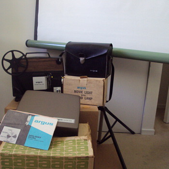 Argus Dual Super 8 + Regular 8 Movie Projector, Argus 802 Movie Camera, Flood Lamp and Full Movie Screen