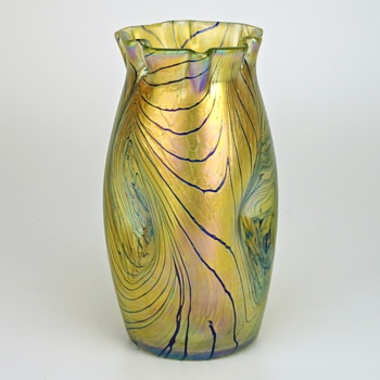 Kralik Blue over Gold Decor, circa 1900...NOT Loetz - Art Glass
