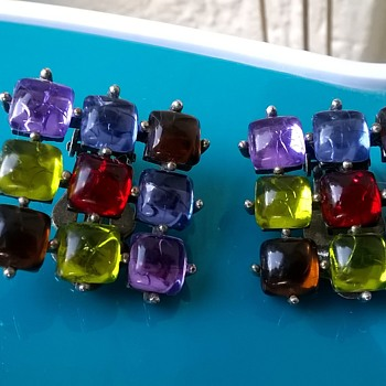 "PART I -Unusual ""Not Gems/ Not Glass"" Clip On Earrings, Thrift Shop Find 25 Cents - Costume Jewelry"
