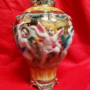 hand decorated ornate jar vase - Figurines
