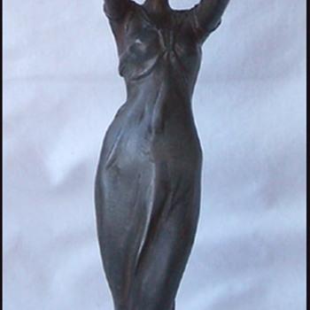 Lucien Alliot maiden candle holder  - Art Nouveau