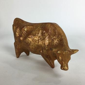 Japanese cast iron cow okimono #1 - Asian