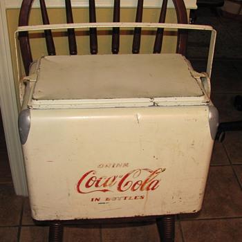 RARE WHITE METAL COCA COLA COOLER 40'S-50'S