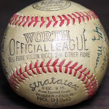 1945 Portland Beavers Autographed Baseball - Baseball