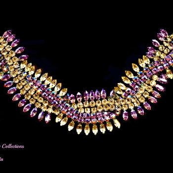 Rare Signed Sherman Twisting & Interweaving Rows Pink AB & Citrine Rhinestone Bracelet - Costume Jewelry