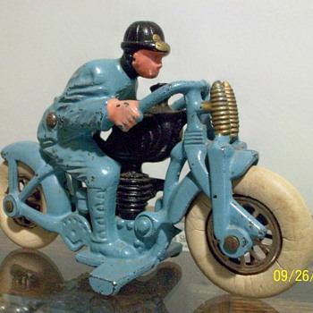 1930's Hubley Harley-Davidson Cast Iron Hillclimber Motorcycle Toy - Toys