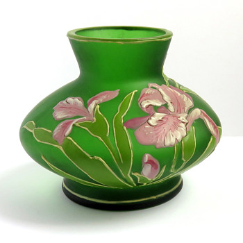 Tiny Goldberg Enameled Iris Vase - Art Glass