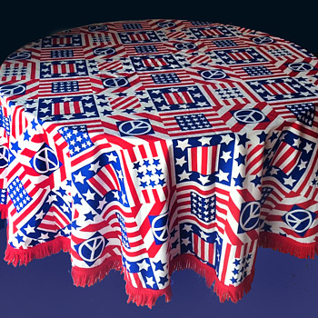Vintage 60's 70's Stars & Stripes, Peace Sign TABLECLOTH Protest - Rugs and Textiles