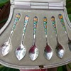 Bernard Instone Set of Silver Enamel Spoons