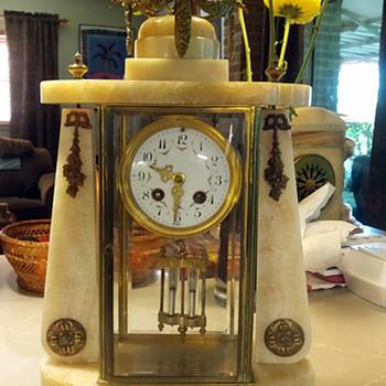 1880's French Onyx and Bronze Ormolu Crystal Regulator - Clocks