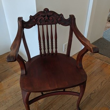 Whimsy carved face wooden chair - Furniture