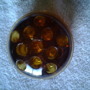 amber centerpiece/console bowl with frog - Glassware