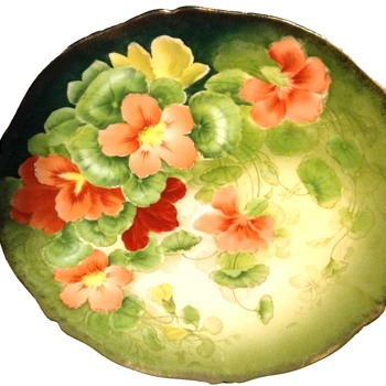 Antique Tirschenreuth  Bavarian Porcelain Hand Painted Floral Plate Signed - China and Dinnerware