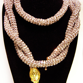 Vintage Kenneth Jay Lane Snake Rhinestone Belt/Necklace