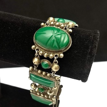 Green Onyx Carved Face Bracelet Sterling Silver Mexico Eagle Stamp #3 - Fine Jewelry