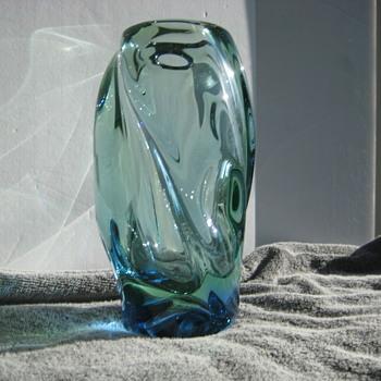 Skrdlovice blue/green vase - Art Glass