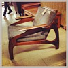 Matching walnut couch and chair (perhaps Adrian Pearsall)