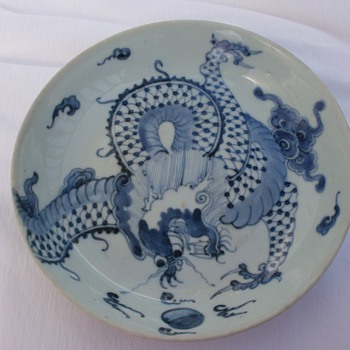 Light green over the wall dragon bowl - Asian