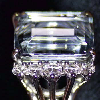 """Lucille M. Bell's Aquamarine and Diamond ring, wife of Lawrence Dale """"Larry"""" Bell, Founder of The Bell Aircraft Company - Fine Jewelry"""