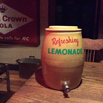 Lemonade crock, 85 year old Rocking horse, Embossed Atlanic copper boiler and McCoy mammy cookie jar