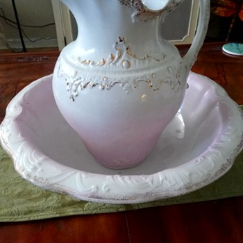 Antique Bowl And Pitcher - Pottery