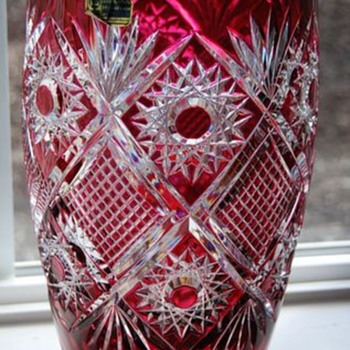Cranberry Red Cut to Clear Bohemian Leaded Crystal Vase  - Glassware
