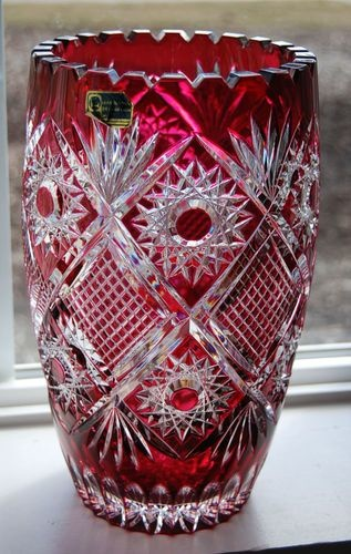 Cranberry Red Cut To Clear Bohemian Leaded Crystal Vase Collectors