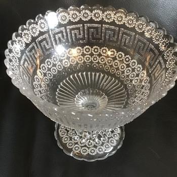 Pressed Glass Compot -Daisy and Greek Key Pattern - Davidson? - Glassware