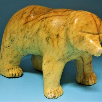 Antique Inuit Soapstone Polar Bear Sculpture - Fine Art