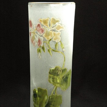 art nouveau enamel glass vase - french or bohemian.  in manner of legras - Art Nouveau