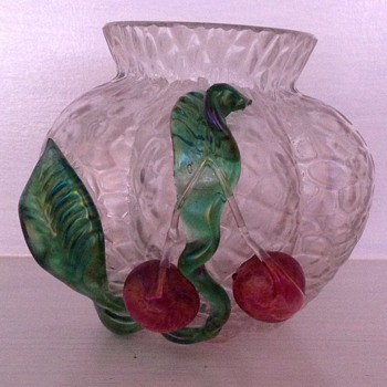 Kralik martele glass vase with applied cherries - Art Glass