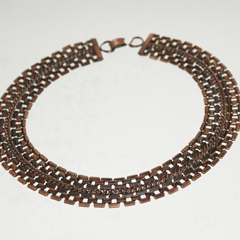 Heavy Copper Choker Necklace - Costume Jewelry